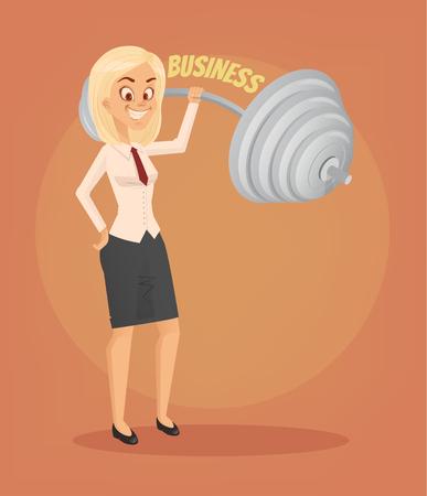 Successful businesswoman office worker character. Vector flat cartoon illustration Ilustração