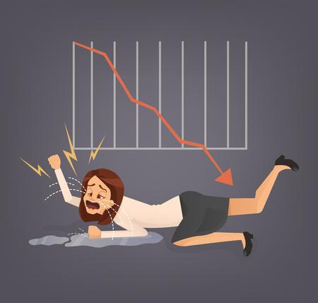 Une femme qui travaille au bureau de travail pleure. L'entreprise échoue. Graphique vers le bas. Vector illustration dessin animée