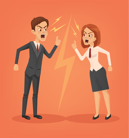 Man and woman office workers characters quarreling. Vector flat cartoon illustration