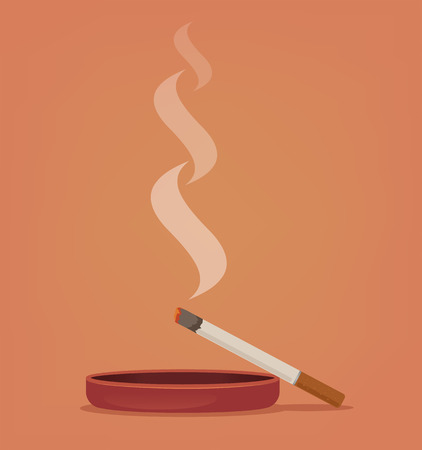 Smoking cigarette in ashtray. Vector flat cartoon illustration