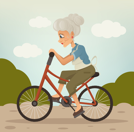 Happy smiling grandmother character riding bike in park. Vector flat cartoon illustration Çizim