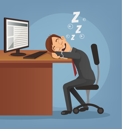 Sleeping happy smiling office worker man character. Vector flat cartoon illustration