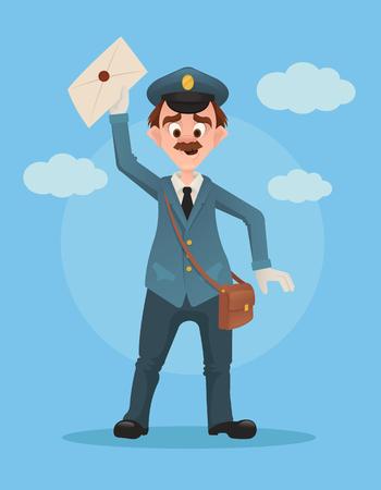 Heureux sourire gagnant homme caractère tenir une buse vecteur plat illustration de bande dessinée Banque d'images - 75149418