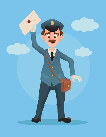 Happy smiling post man character hold envelope. Vector flat cartoon illustration