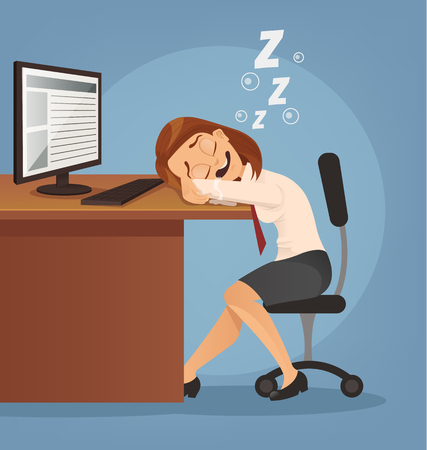 overload: Sleeping happy smiling office worker woman character. Vector flat cartoon illustration