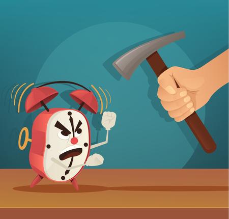 Angry alarm character. Man try broken clock. Early morning. Vector flat cartoon illustration. Illustration