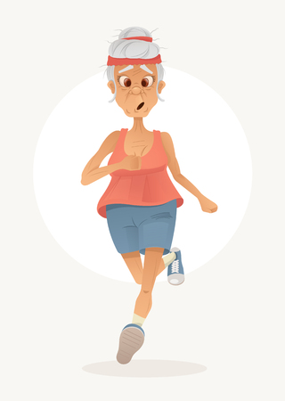 Old sporty happy grandma character run. Healthy active lifestyle. Vector flat cartoon illustration.