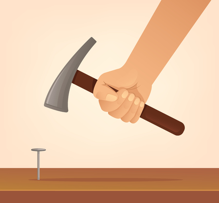 Hand hold hammer and hits nail. Construction concept. Vector flat cartoon illustration.