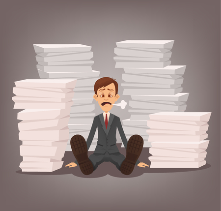 Tired unhappy office worker man character sitting among paper documents. Hard work. Vector flat cartoon illustration