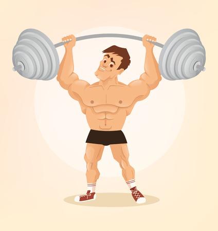 Smiling happy bodybuilder man character lifts barbell. Vector flat cartoon illustration Illustration
