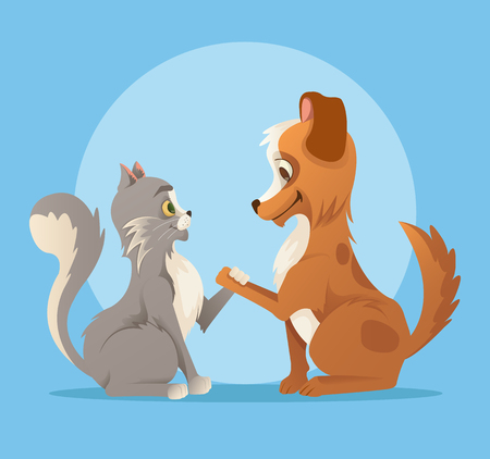 Cat and Dog characters best friends smiling and handshake. Vector flat cartoon illustration Ilustracja