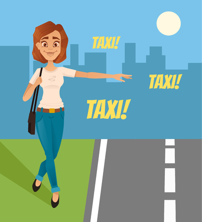 Happy smiling woman tries to catch taxi car. Vector flat cartoon illustration Illustration