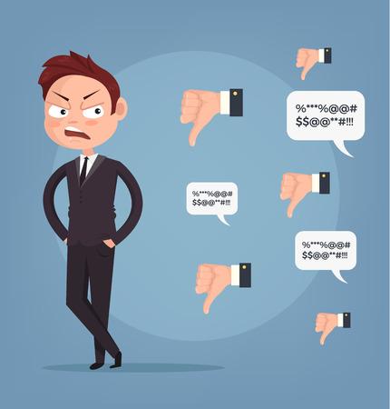 悲しい不幸な不成功なビジネス人はオフィス ワーカー マスコットキャラ。負のフィードバックの嫌いなもの。悪いコメント。ベクトル フラット漫  イラスト・ベクター素材