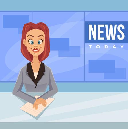 Happy smiling anchor woman. Vector flat cartoon illustration Stock Illustratie