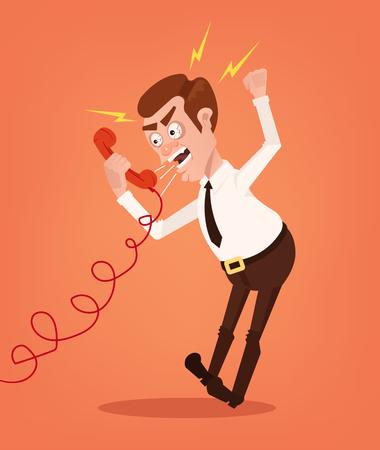Gniewny biznesmena urzędnika konsultanta mężczyzna charakter krzyczy i wrzeszczy na telefonie. Ilustracja kreskówka płaski wektor