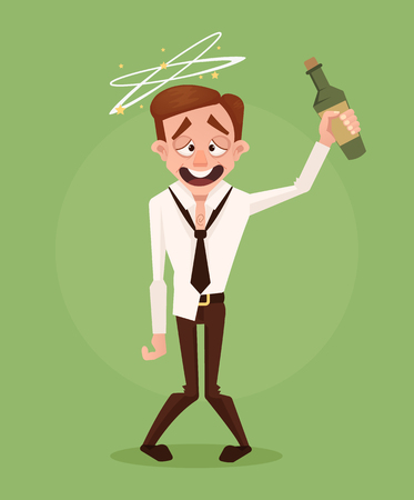 Happy smiling drunk businessman office worker character. Vector flat cartoon illustration