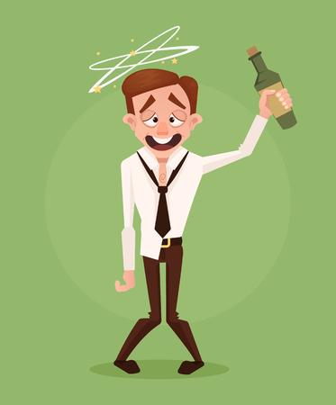 Szczęśliwy uśmiechnięty pijący biznesmena urzędnika charakter. Ilustracja kreskówka płaski wektor