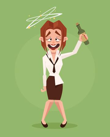 幸せな笑みを浮かべて酔ってビジネス女性オフィス ワーカーの文字。ベクトル フラット漫画イラスト