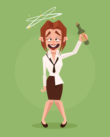 Happy smiling drunk business woman office worker character. Vector flat cartoon illustration