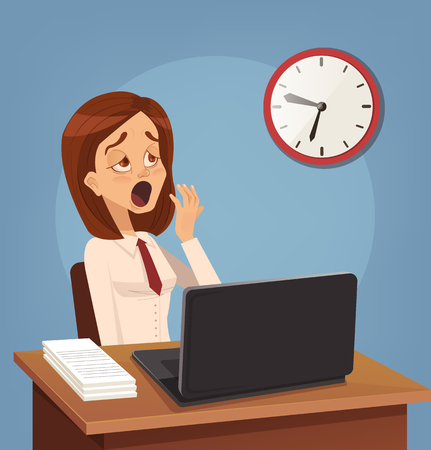 Tired sad busy office worker woman character yawn. Vector flat cartoon illustration