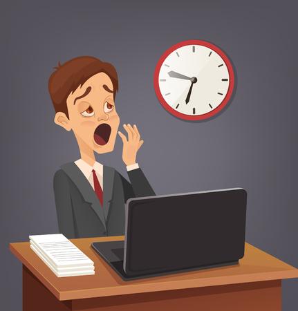 Tired sad busy office worker man man yawn. Vector flat cartoon illustration