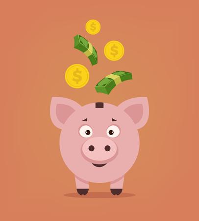 Happy smiling piggy bank with money. Vector flat cartoon illustration
