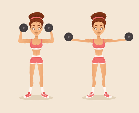 aerobic training: Happy smiling woman sportsman doing exercise with dumbbells on biceps hands. Vector flat cartoon illustration
