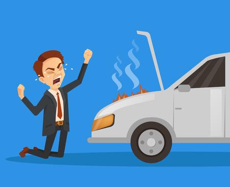 Car broken down. Exploding engine. Unhappy sad angry businessman character. Vector flat cartoon illustration