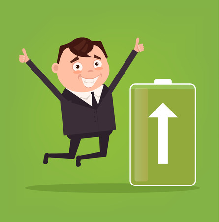 low energy: Happy smiling businessman office worker character full of energy. Green battery. Vector flat cartoon illustration