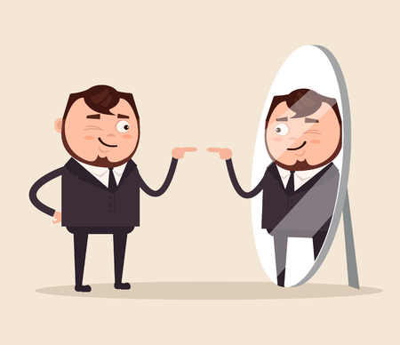 Happy smiling narcissistic businessman. Vector flat cartoon illustration Illustration