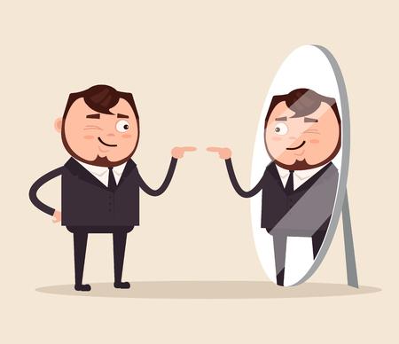 Heureux homme d'affaires narcissique souriant. Vector illustration de dessin animé plat Banque d'images - 79986074