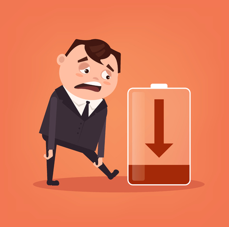 Tired sad office worker businessman has no energy. Hard work. Vector flat cartoon illustration