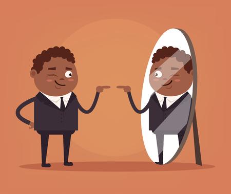 narcissistic: Happy smiling narcissistic black African American businessman. Vector flat cartoon illustration Illustration