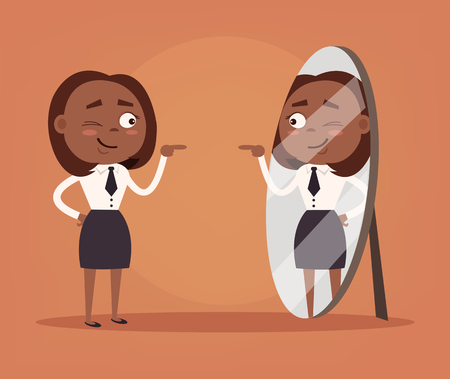 Happy smiling narcissistic black African American business woman. Vector flat cartoon illustration Vettoriali