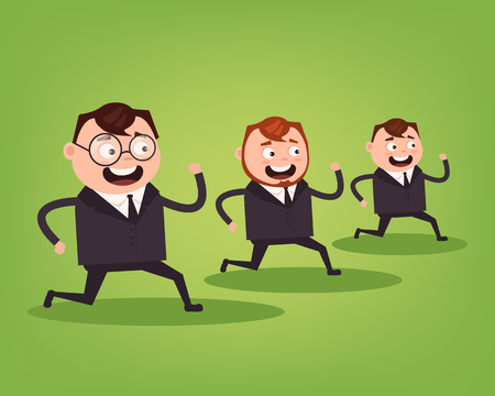 Businessmen office workers characters running. Competition concept. Vector flat cartoon illustration