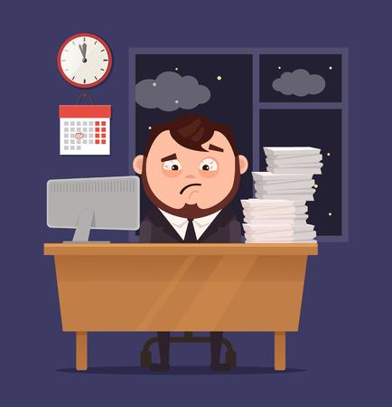 L'homme d'affaires malheureux malheureux de bureau travaillant malheureusement a beaucoup de travail. Vector illustration de dessin animé plat