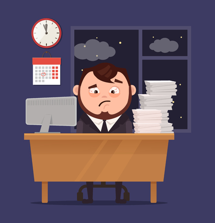 workday: Unhappy sleepy sad office worker businessman has a lot of hard work. Vector flat cartoon illustration