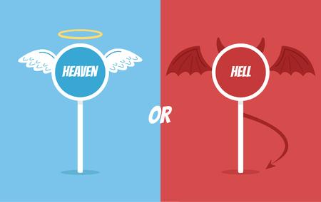 천국 또는 지옥 도로 표지판입니다. 벡터 플랫 만화 일러스트 레이션