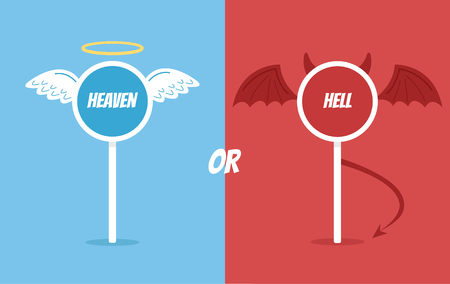 Heaven or hell road sign. Vector flat cartoon illustration Ilustração