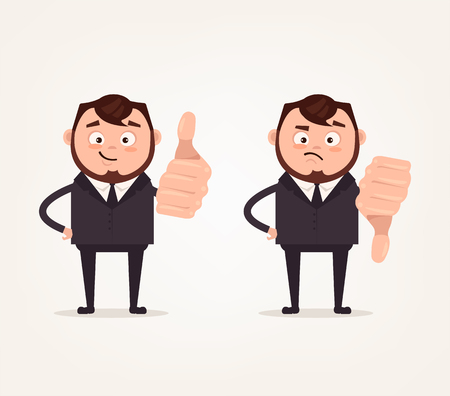 Happy smiling and angry sad business people showing signs and dislikes hand gesture sign. Vector flat cartoon illustration set Illustration