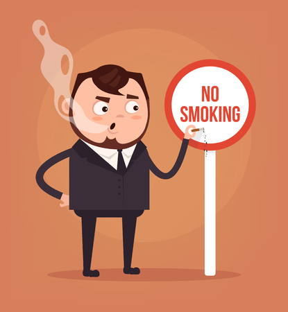 banned: Bad rude man office worker character smoking near sign no smoke. Vector flat cartoon illustration