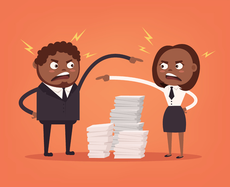 Man and woman colleagues office workers quarreling. Bad teamwork. Hard work. Vector flat cartoon illustration