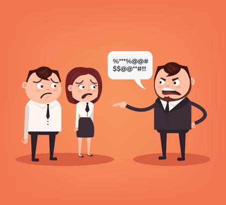 Angry boss character. Vector flat cartoon illustration