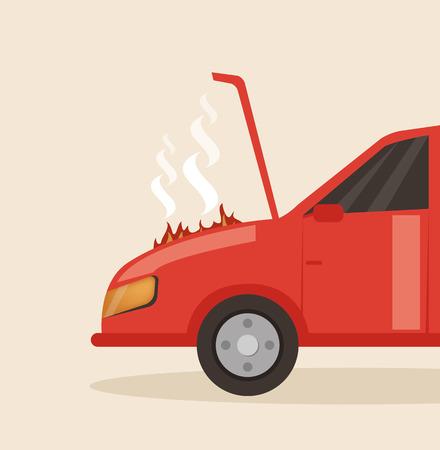 Broken red car with open hood. Vector flat cartoon illustration Illustration