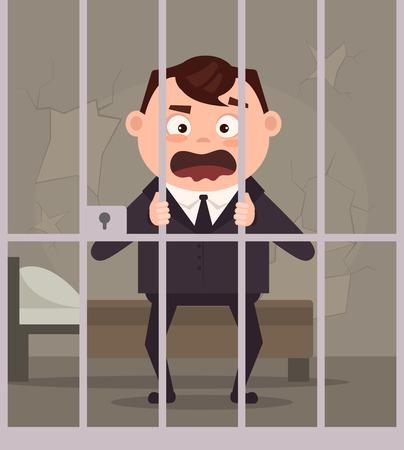 Sad unhappy crying prisoner businessman in jail. Vector flat cartoon illustration
