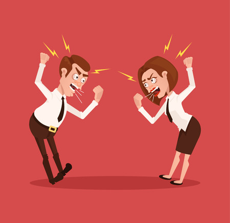 annoying: Man and woman business office workers characters quarreling. Illustration