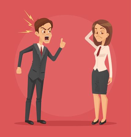 Angry man boss. Vector flat cartoon illustration Çizim