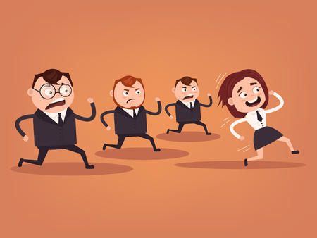 equal opportunity: Businessmen office workers characters running. Competition concept. Woman winner. Vector flat cartoon illustration