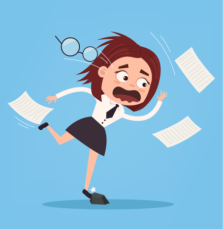 Falling unsuccessful sad office worker business woman character. Bad luck. Vector flat cartoon illustration