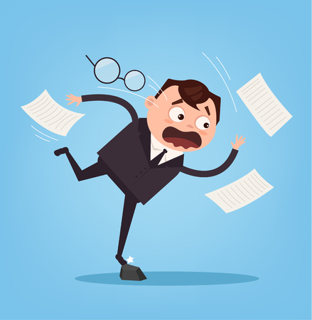 Falling unsuccessful sad office worker business man character. Bad luck. Vector flat cartoon illustration Illustration